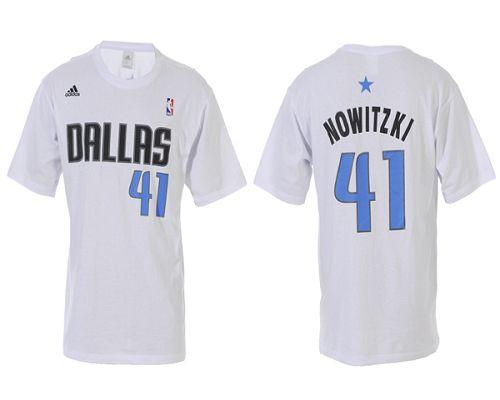 online retailer 34a1e 2a9c4 Dallas Mavericks #41 Dirk Nowitzki White NBA T-Shirts