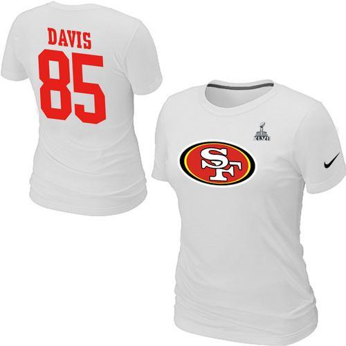 8a34c2c3d Women s Nike San Francisco 49ers  85 Vernon Davis Name   Number Super Bowl  XLVII T-Shirt White