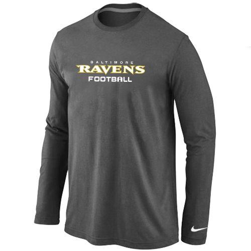 Nike Baltimore Ravens Authentic Font Long Sleeve T-Shirt Dark Grey be5e64be6