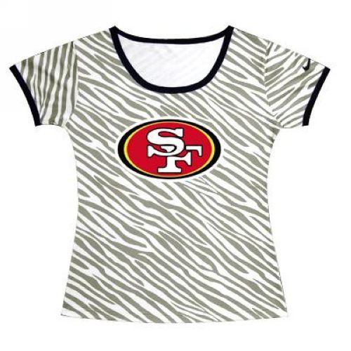 7453f2c2963 Women's San Francisco 49ers Sideline Legend Authentic Logo Zebra Stripes T- shirt