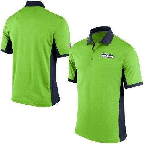 59222f191fd4e Men s Nike NFL Seattle Seahawks Neon Green Team Issue Performance Polo