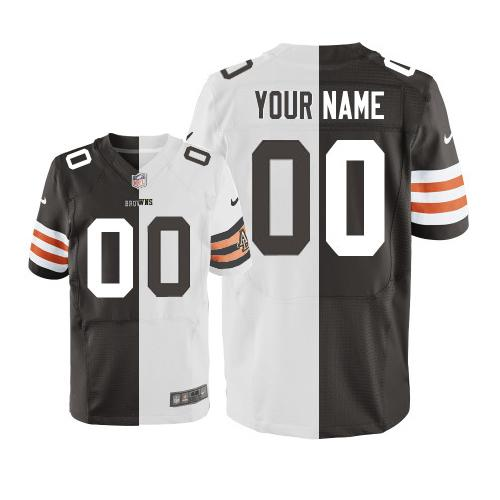 new product 7f9a3 42b2c Nike Cleveland Browns Customized Browns/White Men's Stitched ...