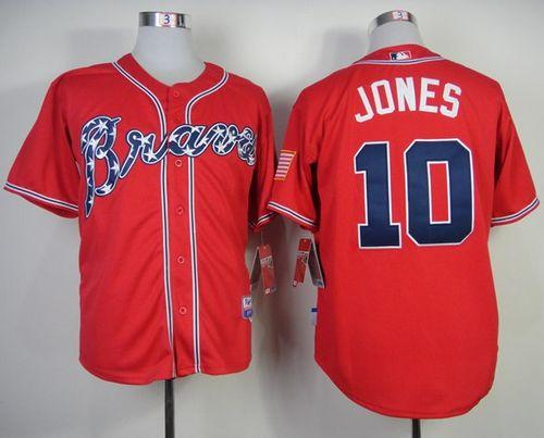 sale retailer c1d54 9eccd Braves #10 Chipper Jones Red Stitched Baseball Jersey