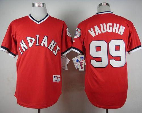 1394d87792f Indians  99 Ricky Vaughn Red 1974 Turn Back The Clock Stitched Baseball  Jersey
