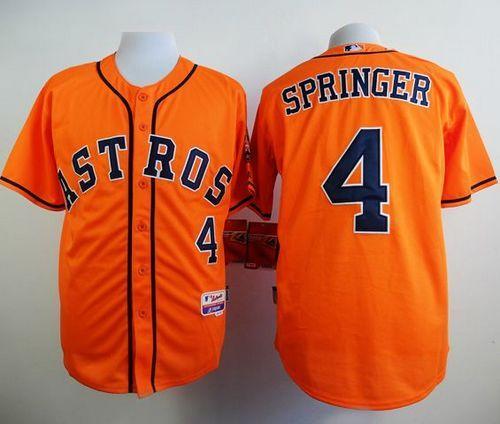 41b14c55b Astros  4 George Springer Orange Cool Base Stitched Baseball Jersey