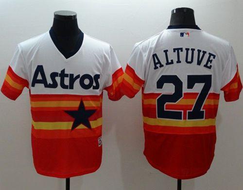 timeless design 05a06 e42d6 Astros #27 Jose Altuve White/Orange Flexbase Authentic ...