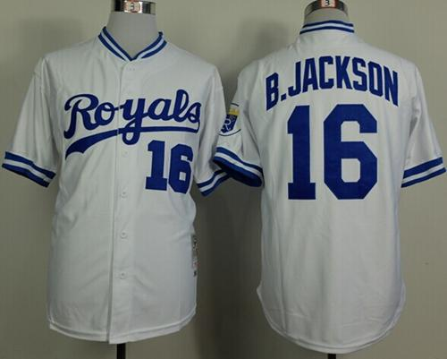 new product a8086 d87c3 Mitchell And Ness 1980 Royals #16 Bo Jackson White Stitched ...