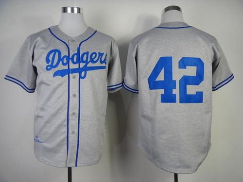 best service c25fc 385cf Mitchell and Ness 1955 Dodgers #42 Jackie Robinson Grey ...