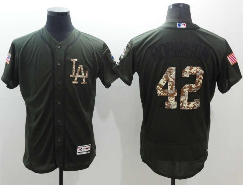 e9f8afda86b Dodgers  42 Jackie Robinson Green Flexbase Authentic Collection Salute to  Service Stitched Baseball Jersey