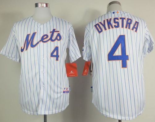 new product 4de3f 63dab Mets #4 Lenny Dykstra White(Blue Strip) Home Cool Base ...