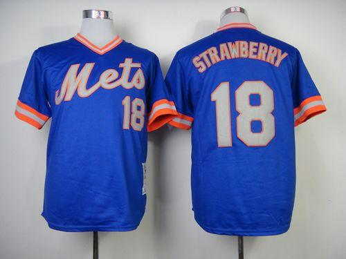 reputable site 3174c 8db8f Mitchell and Ness 1983 Mets #18 Darryl Strawberry Blue ...