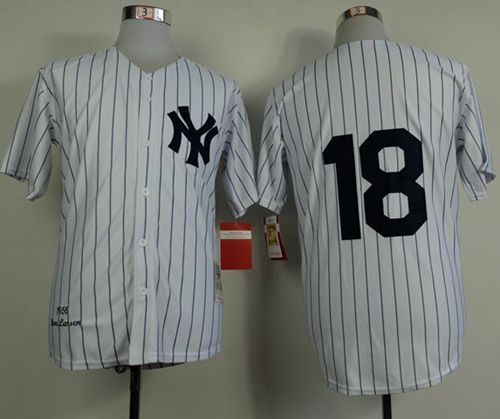 ff967807f Mitchell and Ness 1956 Yankees  18 Don Larsen White Throwback Stitched  Baseball Jersey