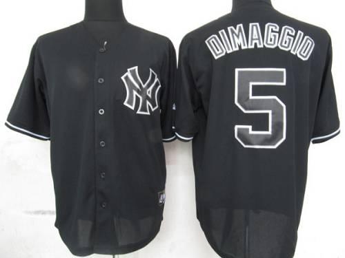 newest ef3b5 2a96c Yankees #5 Joe DiMaggio Black Fashion Stitched Baseball Jersey