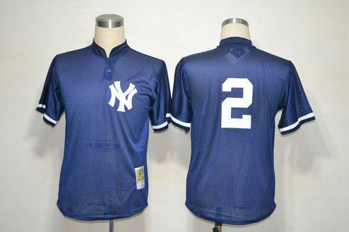 sale retailer 64378 2b395 Mitchell And Ness Yankees #2 Derek Jeter Navy Blue Practice ...