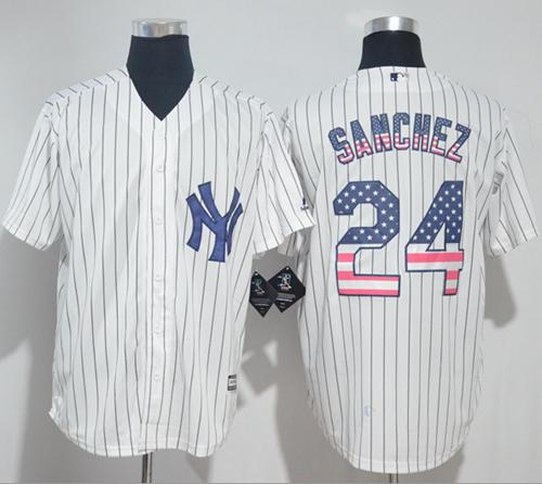 009de15f5 Yankees  24 Gary Sanchez White Strip USA Flag Fashion Stitched Baseball  Jersey