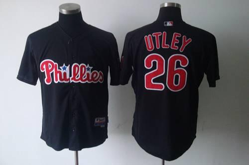 sneakers for cheap 2fcd0 c0d0a Phillies #26 Chase Utley Black Stitched Baseball Jersey