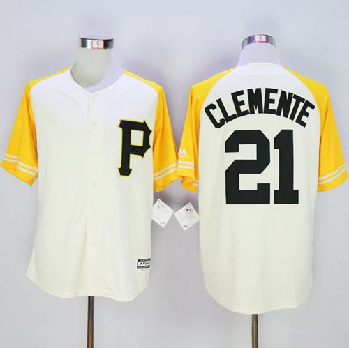 f8afefb9f ... france pirates 21 roberto clemente cream gold exclusive new cool base  stitched baseball jersey a5479 b0edf