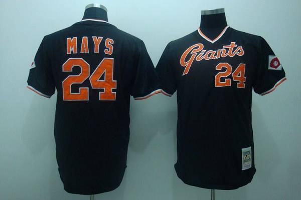buy popular 51e3b 8cf82 Mitchell and Ness Giants #24 Mays Stitched Black Throwback ...