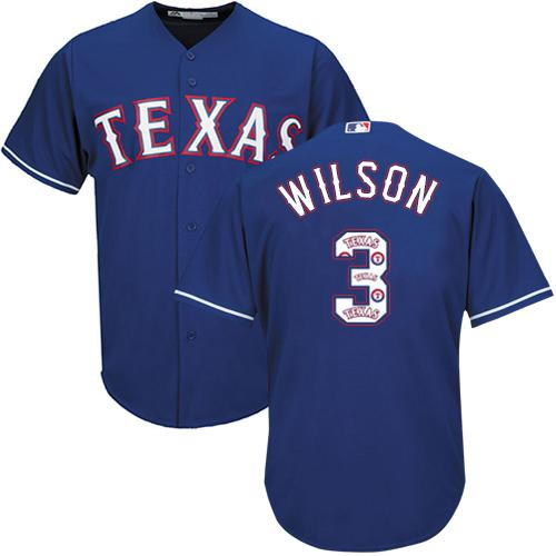 pretty nice d08a6 71132 Rangers #3 Russell Wilson Blue Team Logo Fashion Stitched ...