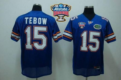 856960289 Gators  15 Tim Tebow Blue Allstate Sugar Bowl Stitched NCAA Jersey