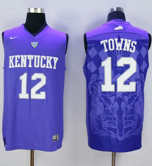 brand new 2a9e0 7dcc5 Wildcats #12 Karl-Anthony Towns Blue Basketball Stitched ...