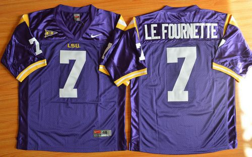 sports shoes b2cc8 8bf55 LSU Tigers #7 Leonard Fournette Purple Stitched NCAA Jersey