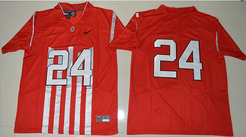 the latest 00b9d b2222 Buckeyes #24 Malik Hooker Red 1917 Throwback Limited ...