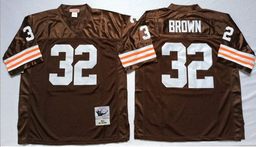f670122d7 Mitchell And Ness 1963 Browns  32 Jim Brown Brown Throwback Stitched NFL  Jersey