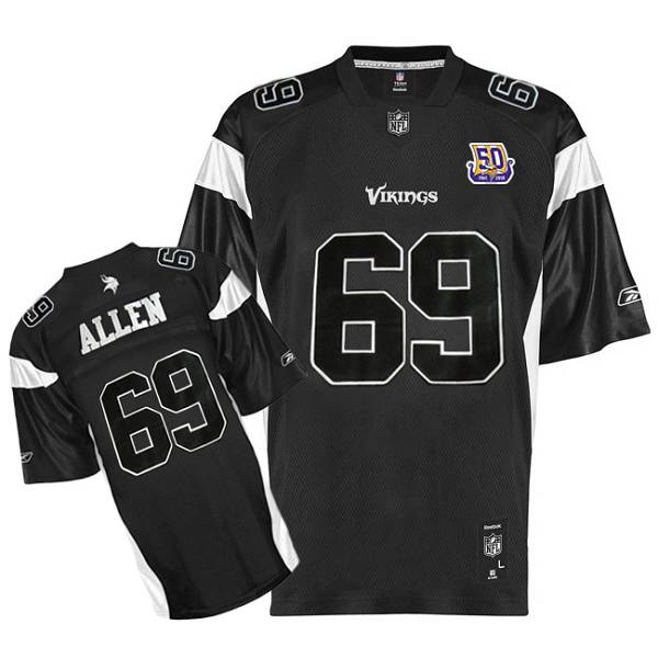 Vikings  69 Jared Allen Black Shadow Team 50TH Patch Stitched NFL Jersey 3170e3987