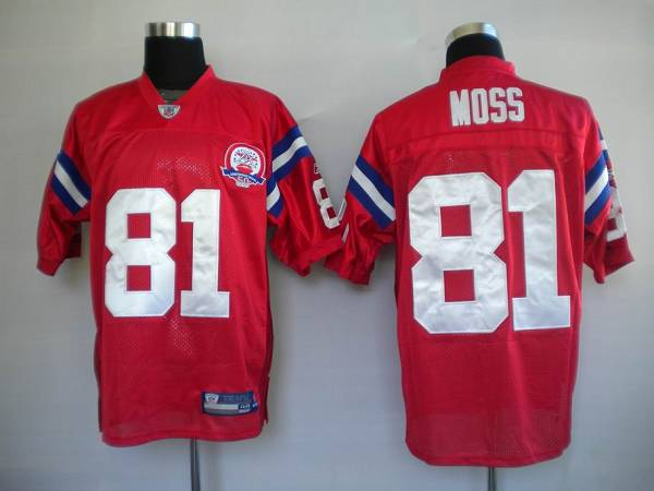 check out af952 ba6d2 Patriots #81 Randy Moss Red With AFL 50 Anniversary Patch ...