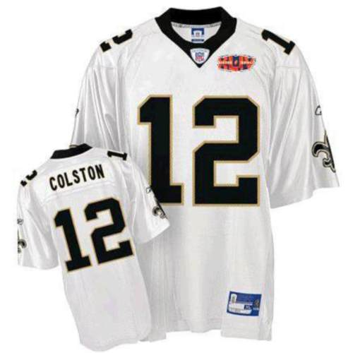 4816fe2b2 Saints  12 Marques Colston White With Super Bowl Patch Stitched NFL Jersey
