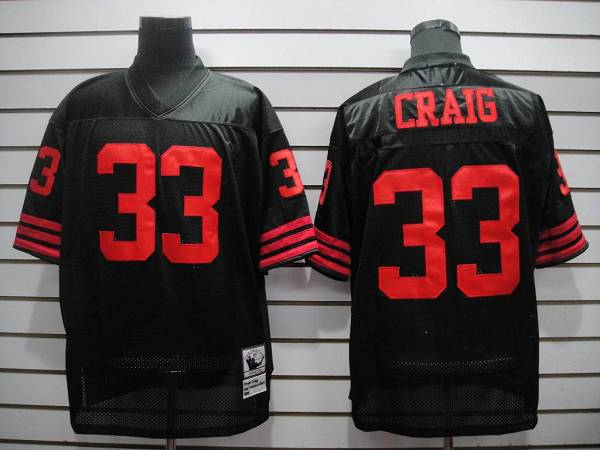 b5a555ba0c5 Mitchell and Ness 49ers  33 Roger Craig Black Stitched Throwback NFL Jersey