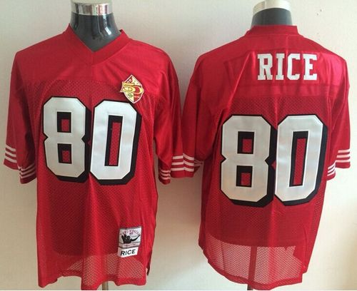 New Mitchell and Ness 49ers #80 Jerry Rice Red With 50TH 1996 Stitched  supplier