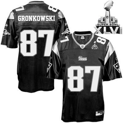 the best attitude a18c9 2e0e8 Patriots #87 Rob Gronkowski Black Shadow Super Bowl XLVI ...