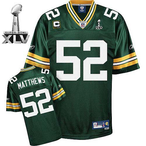 buy popular 3691c 007a8 Packers #52 Clay Matthews Green With Super Bowl XLV and C ...