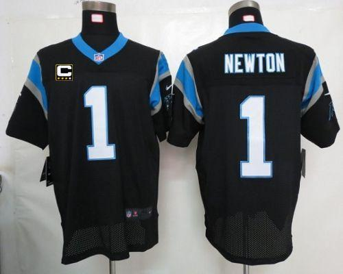 Nike Panthers  1 Cam Newton Black Team Color With C Patch Men s Embroidered  NFL Elite Jersey f29d89642