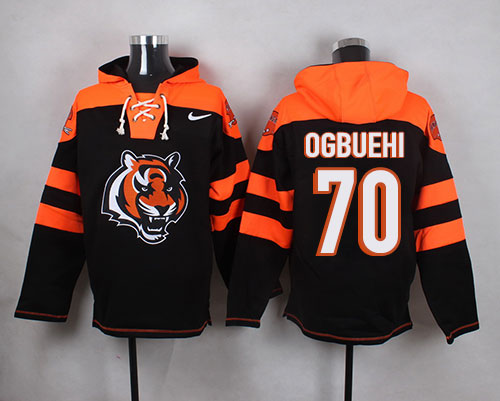 Hot Nike Bengals #70 Cedric Ogbuehi Black Player Pullover NFL Hoodie  hot sale