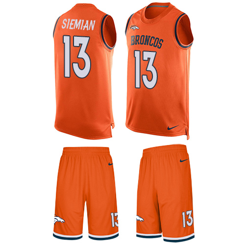 12b72c1e10f Nike Broncos  13 Trevor Siemian Orange Team Color Men s Stitched NFL  Limited Tank Top Suit Jersey