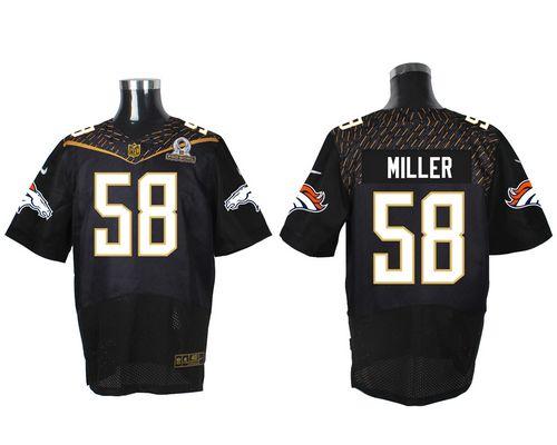 Hot Nike Broncos #58 Von Miller Black 2016 Pro Bowl Men's Stitched NFL