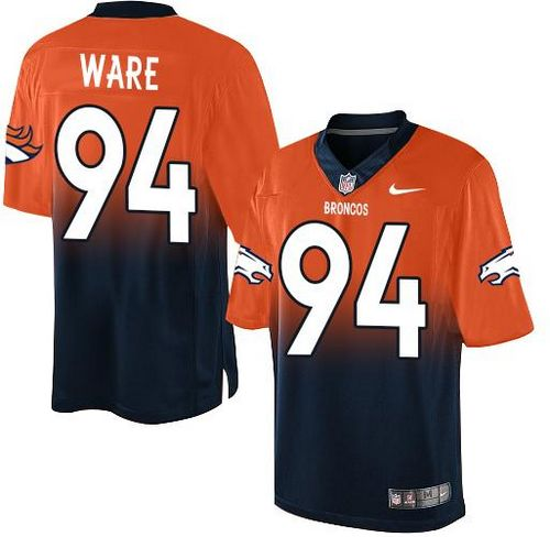 390d9817be6 Nike Broncos #94 DeMarcus Ware Orange/Navy Blue Men's Stitched NFL Elite  Fadeaway Fashion Jersey