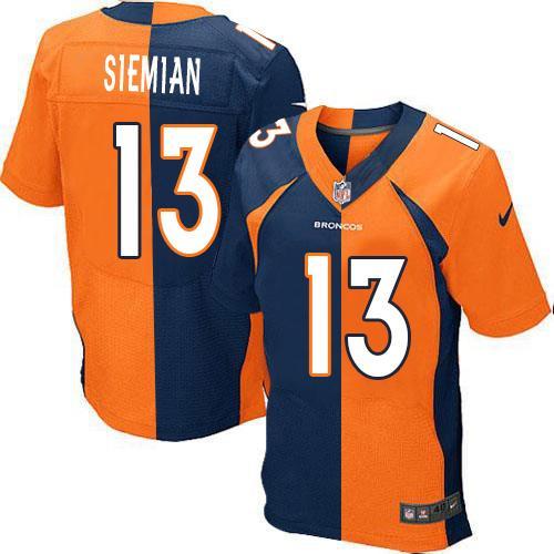 ae4b9c82a Nike Broncos  13 Trevor Siemian Orange Navy Blue Men s Stitched NFL Elite  Split Jersey