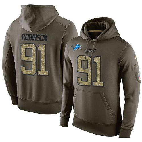 New NFL Men's Nike Detroit Lions #91 A'Shawn Robinson Stitched Green  for sale