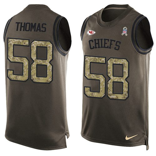 Nike Chiefs  58 Derrick Thomas Green Men s Stitched NFL Limited Salute To  Service Tank Top 1a38bcf39
