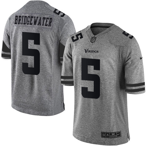Cheap Nike Vikings #5 Teddy Bridgewater Gray Men's Stitched NFL Limited  hot sale