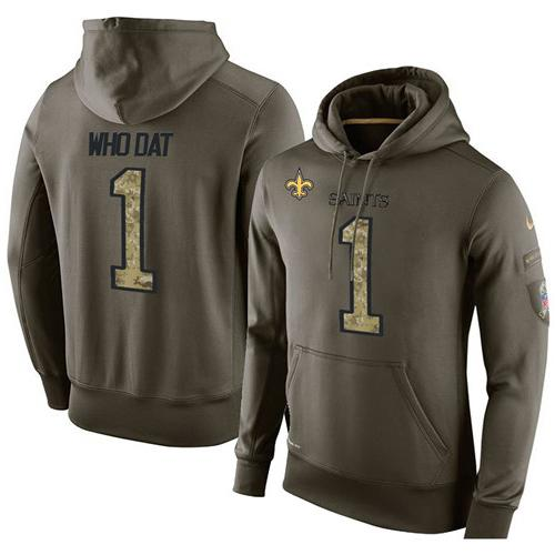 NFL Men s Nike New Orleans Saints  1 Who Dat Stitched Green Olive Salute To  Service KO Performance Hoodie da134452b