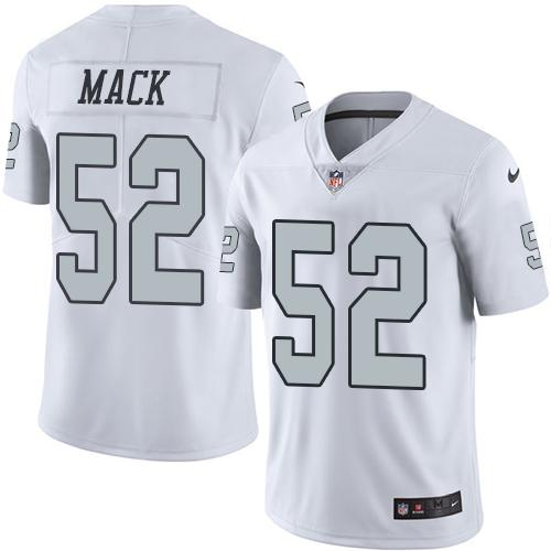 Wholesale Nike Raiders #52 Khalil Mack White Men's Stitched NFL Limited Rush  for cheap
