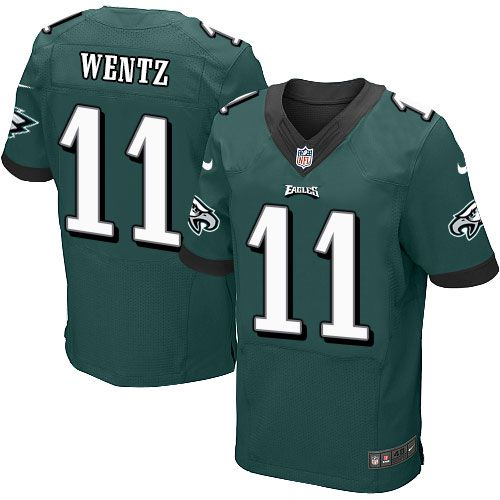 25553839d $199.99 $20.50; Nike Eagles #11 Carson Wentz Midnight Green Team Color  Men's Stitched NFL New Elite Jersey