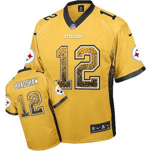 dcd063b9940 Nike Steelers  12 Terry Bradshaw Gold Men s Embroidered NFL Elite Drift Fashion  Jersey