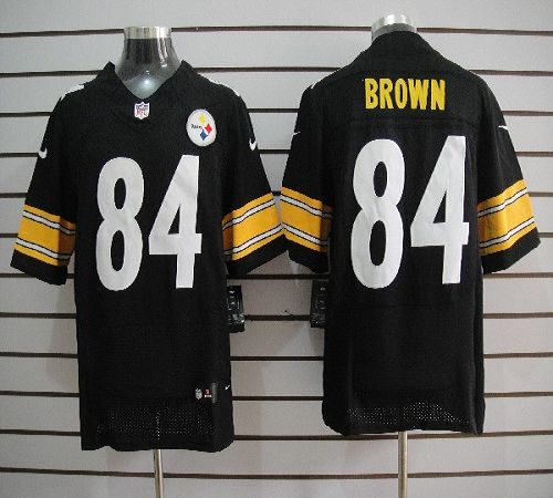 ad0fbe570fa Nike Steelers  84 Antonio Brown Black Team Color Men s Embroidered NFL  Elite Jersey