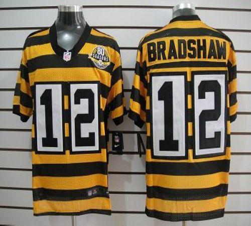 Nice Nike Steelers #12 Terry Bradshaw YellowBlack Alternate 80TH  for cheap